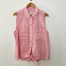 NEW Michael Kors XL Sleeveless Tie Front Collared Top Linen Blend Pink $98 - $21.09