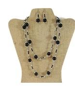 Vintage Black Howlite Bead Silvertone Necklace Dangling Pierced Earrings... - $14.50