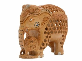 Handcarved gift decor elephant figurine statue with cub and baby in tumm... - $54.45