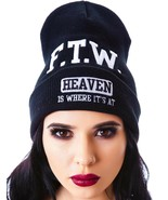 UNIF Beanie Black F.T.W. Heaven is where it's at Unisex New - $24.74