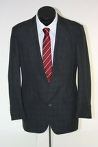Hart Schaffner & Marx Mens Suit Jacket 40R Charcoal Window Pane Modern Fit - $19.75