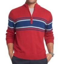 IZOD Men's Jester Red Blue Striped 1/2 Zip Knit Pullover Sweater Medium - $31.99