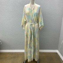 VTG Georgette Trabolsi Wrap Robe Women's L Multicolor Tie Wide Sleeve Ni... - $49.99