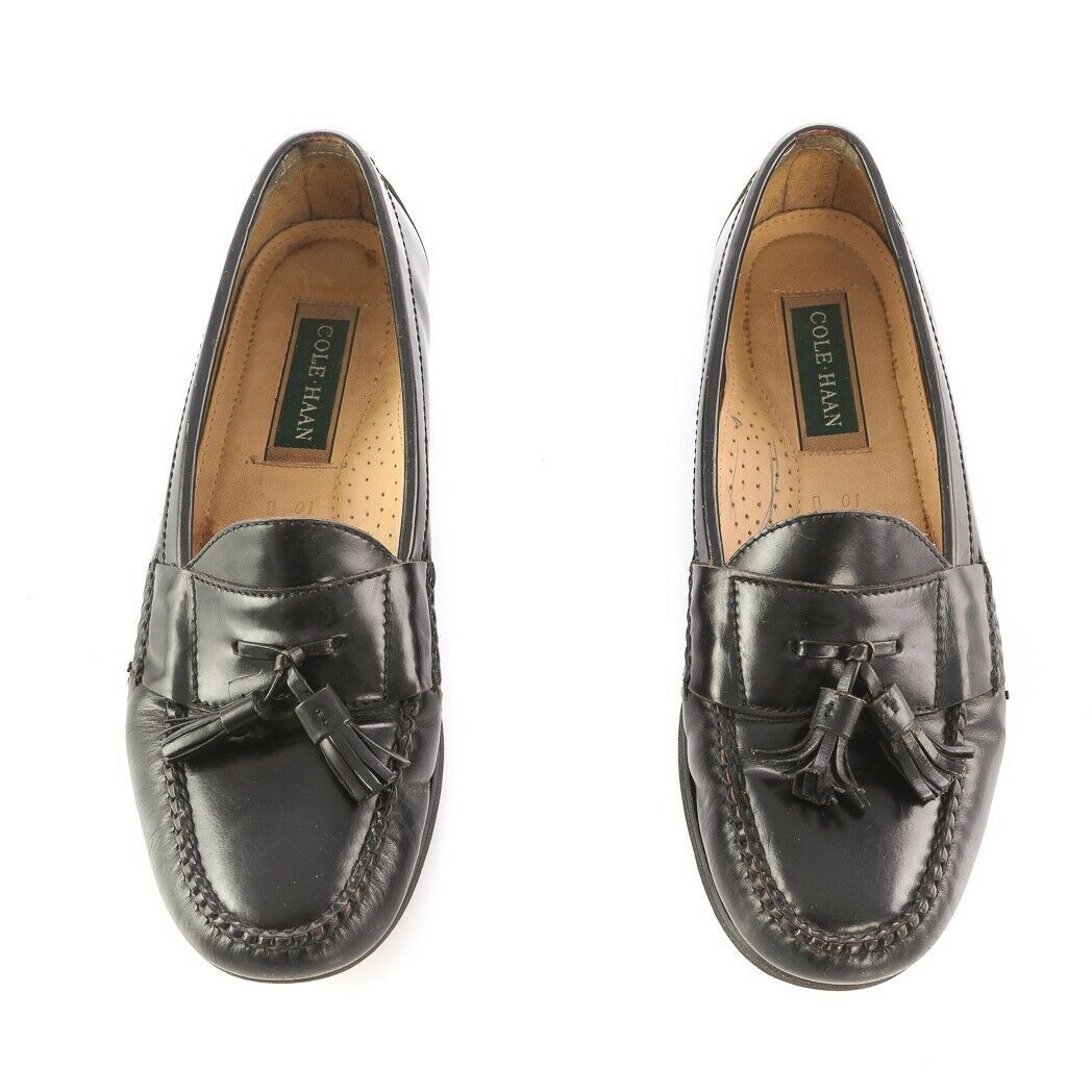 Cole Haan Black Leather Tassel Loafers Slip On Dress Shoes Apron Toe Mens 10 image 2