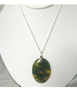 Necklace with Moss Agate Pendant Natural Stone Sterling Sliver Women Men... - $29.99