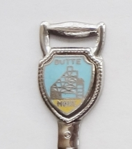 Collector Souvenir Spoon USA Montana Butte Mine Framehead Cloisonne Embl... - $6.99