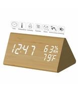 Digital Triple Alarm Clock Wooden LED Large LCD Dim Temp Date Display - $19.75