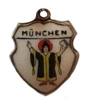 Vintage 800 Silver Charm German Munchen Enamel Travel Flag Shield - $14.84