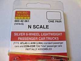 Micro-Trains Stock #00342061  Silver 6-Wheel Lightweight Passenger Car Trucks image 2