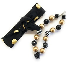 Cute Kids Clothing Newborn Toddler Girl/Girls Black Gold Headband & Chun... - $16.19