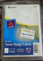 """Avery 5132 Flexible Name Badge Labels - 20 pack - 2.34"""" x 3.375""""  BRAND NEW - $8.90"""