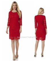 Red Lace Sheath Cocktail Dress Vintage Look Dinner Party Wedding NWT   M... - $29.95