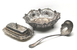 Antique Reed & Barton Silver Plate Basket #4865+Butter Dish+Rogers Servi... - $37.39