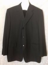 Canali Italy Sport Coat Jacket Pura Lana Wool Black Striped US 50L IT 60 - $69.29
