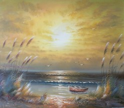 Golden Sunset 20 x 24 original oil painting on canvas - $79.19