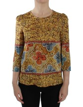 Dolce & Gabbana Multicolor Mosaic Print Silk Blouse T-shirt 13191 - $323.81