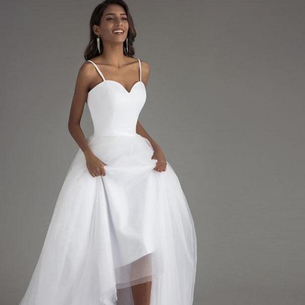 Aghetti strap beach wedding dresses 2020 vestido noiva praia white tulle with sashes boho bridal