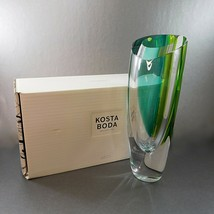 Large Kosta Boda Mirage Vase Goran Warff Cased Blue Yellow Byron Nelson ... - $299.00