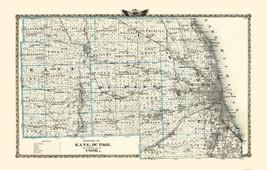 Kane  Du Page  Cook Illinois Landowner - Warner 1876 - 23 x 36 - $36.95+
