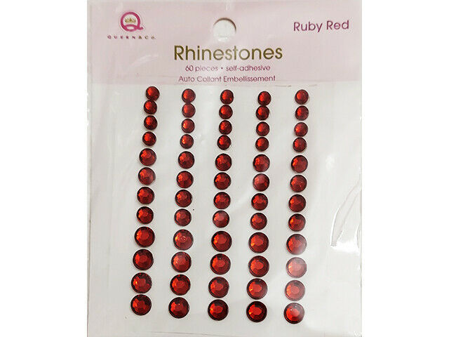 Queen & Co Self-Adhesive Rhinestones, Ruby Red, 3 Sizes