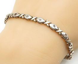925 Sterling Silver - Vintage Topaz Hugs & Kisses XO Link Chain Bracelet... - $44.93