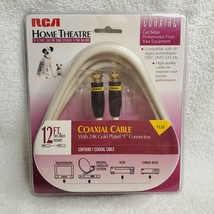 """RCA Home Theatre T12C 12 Foot Gold Plated """"F"""" Connectors Coaxial Cable t1702 NOS - $8.90"""