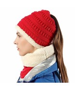 GirlsHat Scarf Set Stretch Knit High Ponytail Beanie Tail Winter Outdoor... - $18.23