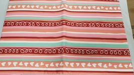 "Flannel Back Vinyl Tablecloth 52"" X 70"" (4-6 Ppl) Colorful Stripes & Hearts, Ap - $15.83"