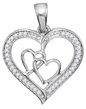 Sterling Silver Womens Round Diamond Triple Heart Outline Pendant 1/8 Cttw - $63.00