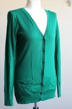 Talbots XS Green Merino Wool Thin Knit V-Neck Cardigan Sweater - $26.60