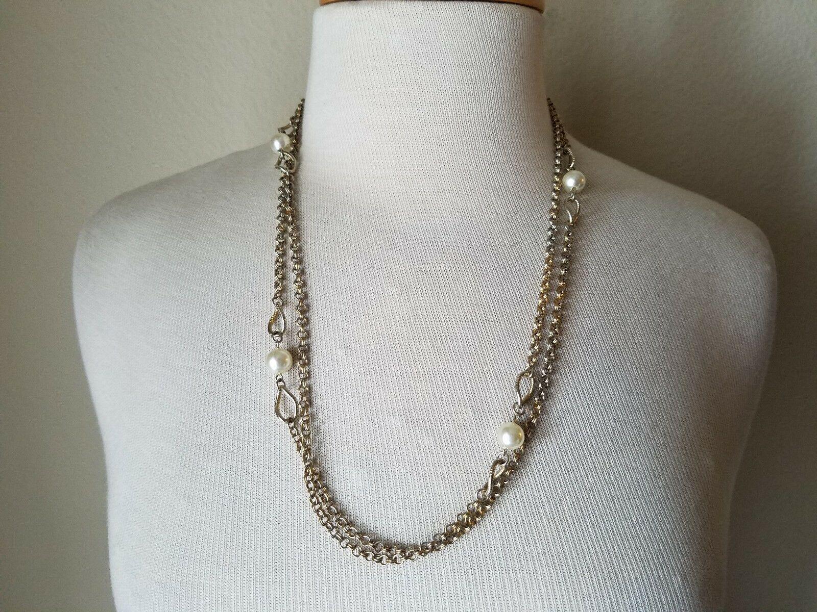 Vintage Fashion Jewelry Set Silver Tone Metal Faux Pearl Earrings & Neclace