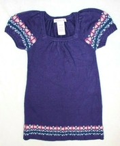 Spunky Girls Sweater Tunic Size 7 8 Purple Fair Isle Short Sleeve Casual... - $17.59