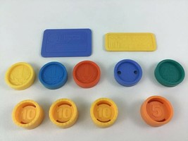 Fisher Price Coins 11pc Lot Credit Card 25 10 5 Pieces Parts Vintage - $26.68