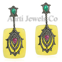 Victorian 3.96ct Rose Cut Diamond Ruby Emerald Exclusive Colorful Earrings - $537.96