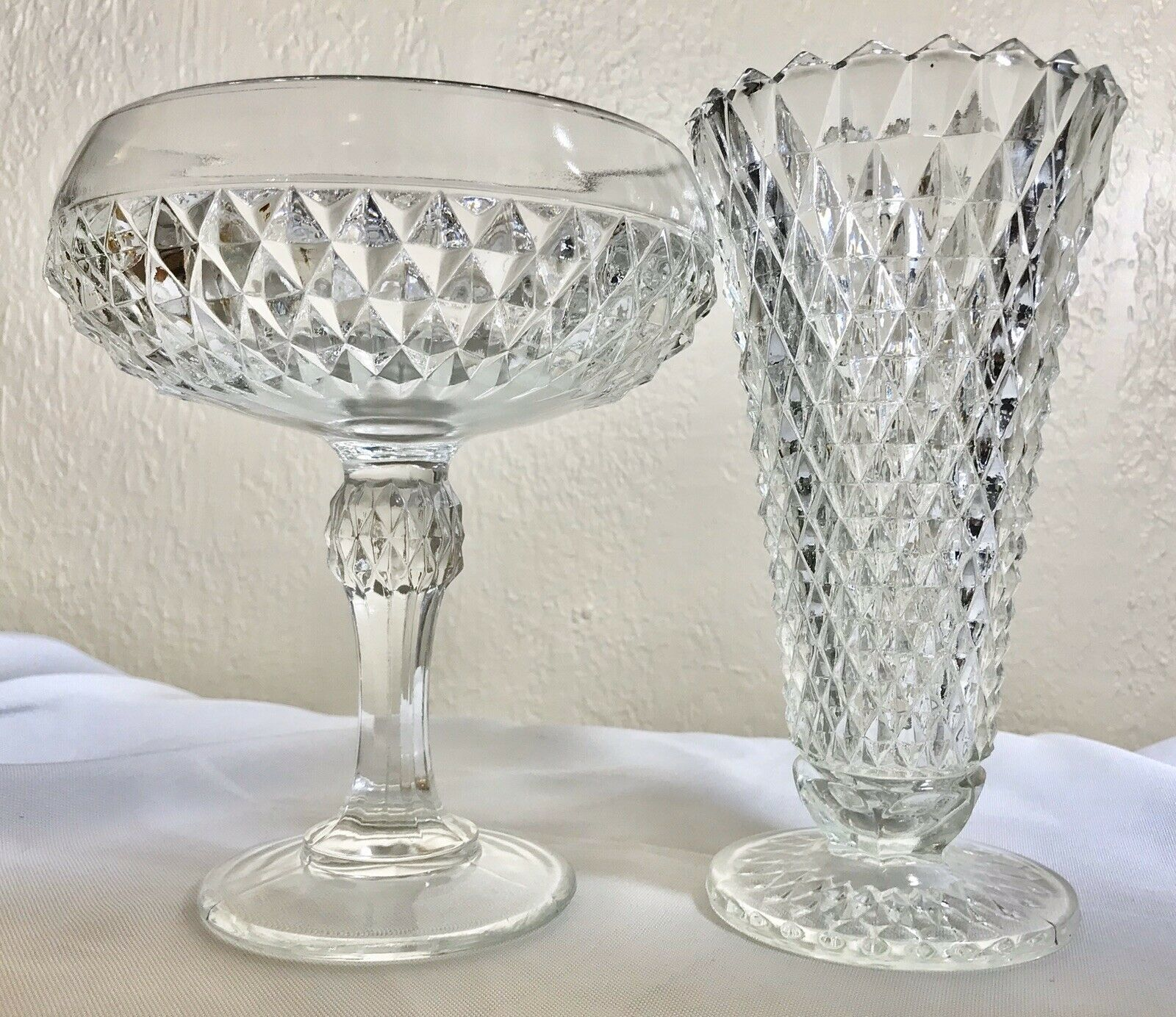 "Vintage Indiana Glass Diamond Footed 7.5"" Compote Candy Dish & 7.75"" Vase Set - $34.50"