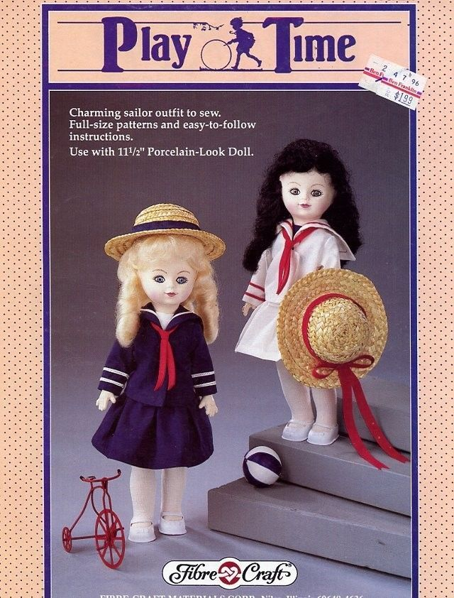 Play Time Doll Sailor Dress Outfit Fibre Craft Sewing Pattern Leaflet HTF
