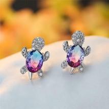 Women Fashion Turtle Stud Earrings Blue Purple Oval Gradient Zircon Jewe... - $5.93+