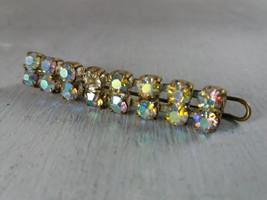 Vintage rainbow rhinestone crystal Barrett Vintage hair Barrett clip Gol... - $15.00