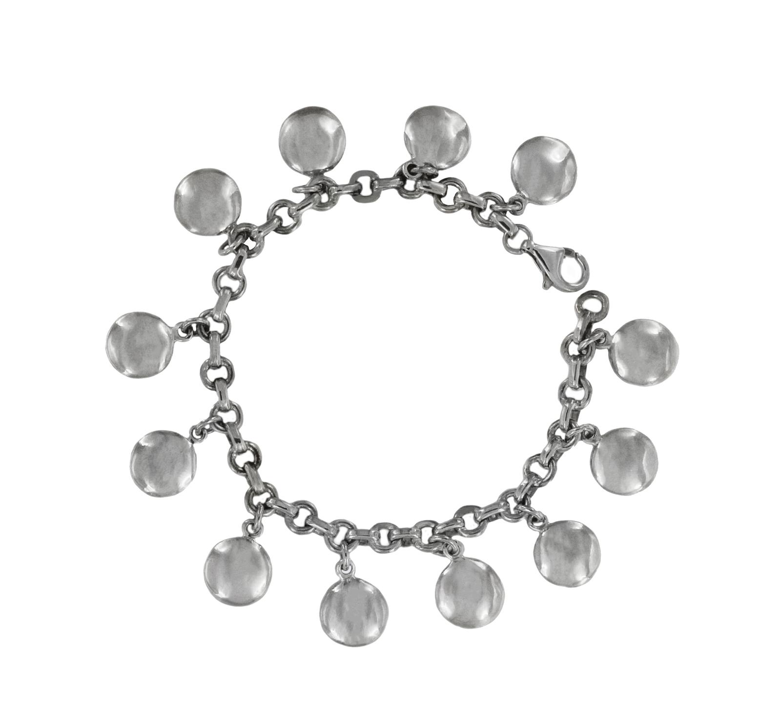 Tiffany & Co Silver Dangling Round Discs Charm Bracelet  - $780.00