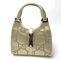 AUTHENTIC GUCCI Jackie GG pattern Hand Bag Beige Satin 0051・788 - $455.91 CAD