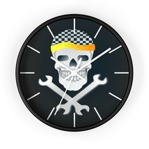 Mechanic Garage skull and crossed wrenches Wall clock. - $32.68