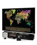 Scratch Off Map Of The World With States - Easy Off Gold Foil Reveals St... - $15.22