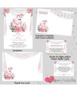 Flamingo Baby Shower Invitation Set thank you diaper raffle book request - $1.75+