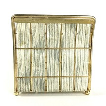 Vintage Mid Century Modern Wire Metal Napkin Holder - Woven Gray Faux Wood - $12.86