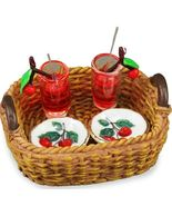 DOLLHOUSE Cherry Sparkler Cocktail Set 1.811/5  Reutter -wicker- tray Mi... - $26.00