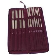 Knitting Needles Stainless Steel Straight Crochet Hook Weave Set 20 Size... - $37.84 CAD