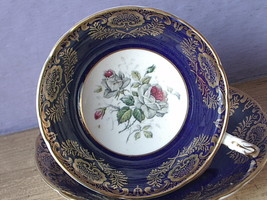 Vintage Paragon England grey gothic rose blue and gold bone china tea cu... - $88.11