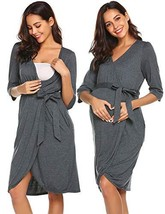 Ekouaer Maternity Labor Delivery Nursing Robe Hospital Bathrobe Grey, Small - $24.36