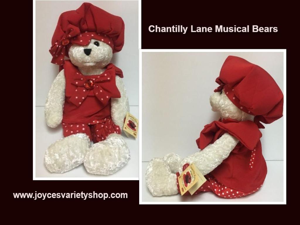 Chantilly lane bear red hat web collage