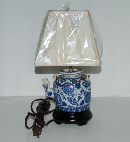 East Enterprises Mini Teapot Blue White Porcelain Table Lamp